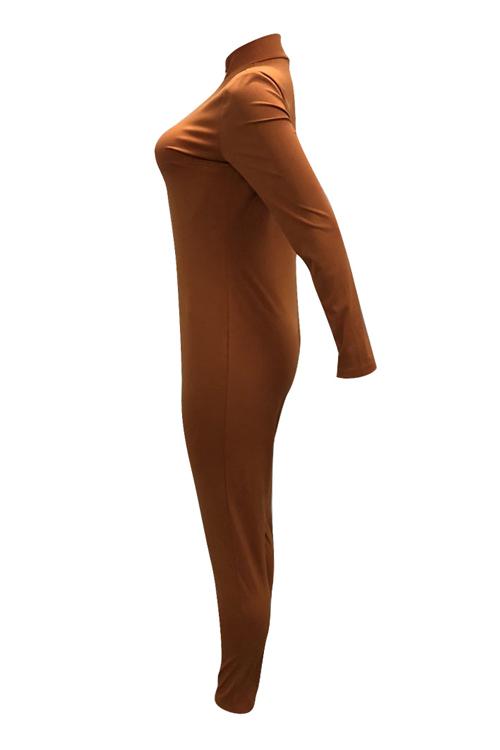 Reizende Modische V-Ausschnitt Reißverschluss Design Braun Polyester Einteilige Overalls