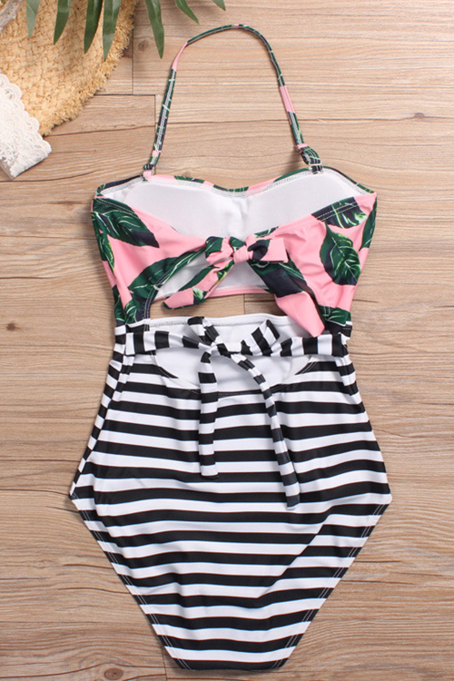 Lovely Fashion Lace-up Hollow-out Floral Printed Green Nylon One-piece Swimwears