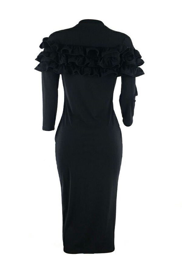 Lovely Sexy Round Neck Falbala Design Black Polyester Sheath Knee Length Dress