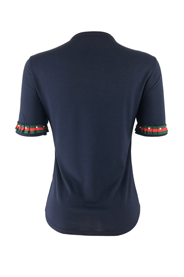 Adorável Casual Colar Redondo Mangas Curtas Decoração Pérola T-shirt Preto De Algodão