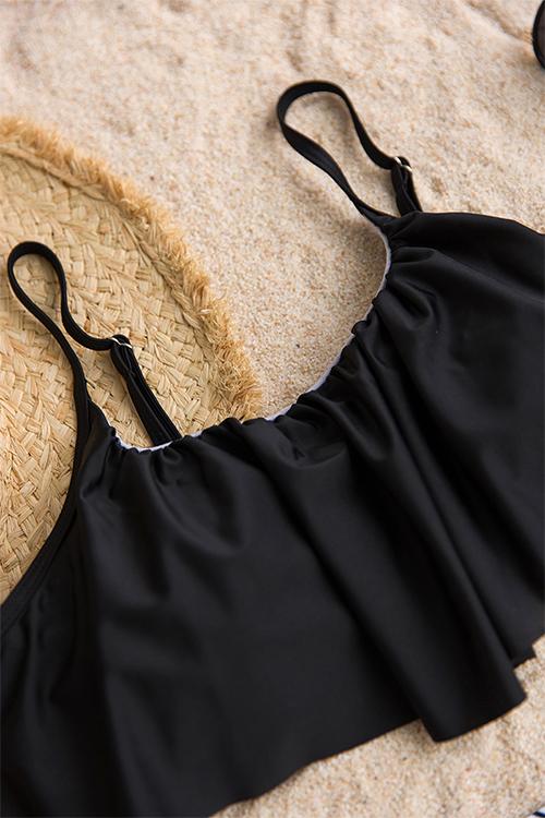 Precioso Falbala Diseño Rayas Negro Poliéster Trajes De Baño De Dos Piezas