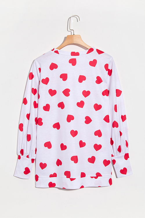 Lovely Fashion Round Neck Heart-shaped Printed White Blending T-shirt