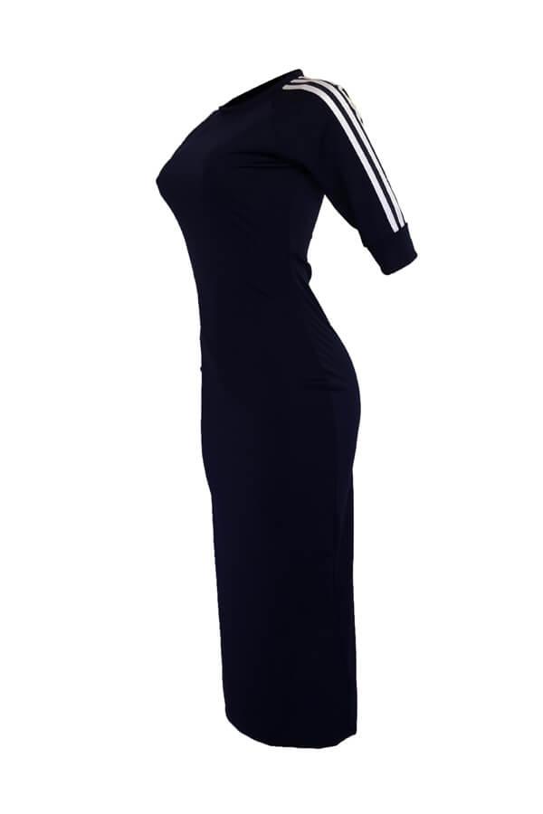 Adorável Sexy Em Torno Do Pescoço Listrado Azul Escuro Bainha De Poliéster Meados Bezerro Vestido