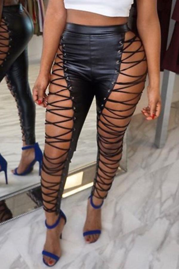 Pantaloni A Vita Alta In Pelle Nera Con Lacci E Vita Alta Elasticizzati