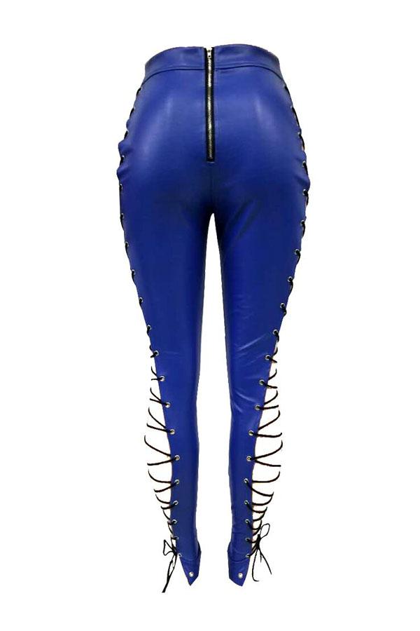 Lovelyfashion Hohe Elastische Taille Schnürung Aushöhlen Blaue Lederhose