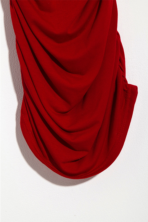 Lovely Casual Round Neck Fold Design Red Blending Sheath Mid Calf Dress