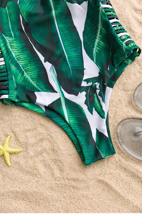 Moda Adorável Oca-out Folhas Impressas Swimwear Verde De Poliéster De Uma Peça