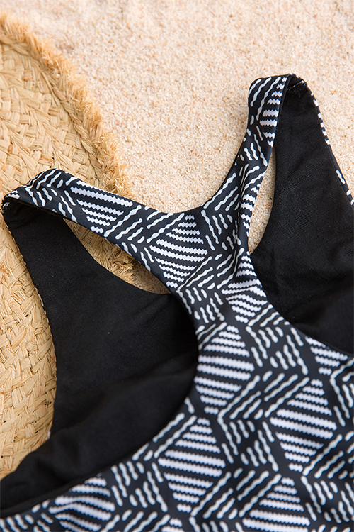 Trajes De Baño De Dos Piezas Impresos Geométricos Atractivos Hermosos Del Poliéster Negro