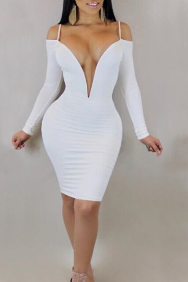 Adorável Sexy Profundo V Pescoço Ombro De Orvalho Branco Fibra De Leite Vestido De Joelho Comprimento