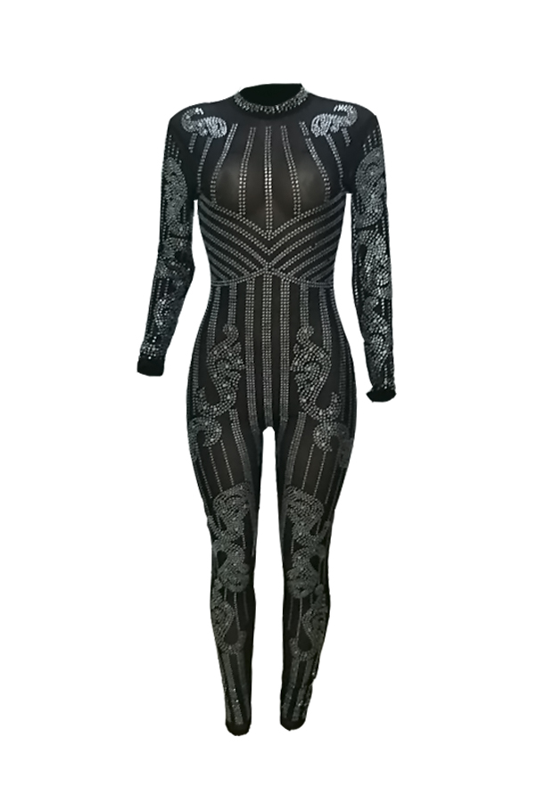 LovelySexy Round Neck See-Through Hot Drilling Decorative Black Polyester One-piece Jumpsuits(Without Lining)