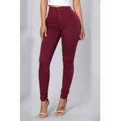 Euramerican High Waist Zipper Design Wine Red Denim Pants