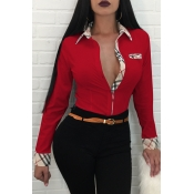 Mode Turndown Kragen Patchwork Einreiher Rot Polyesterhemden