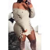 Diseño De Ojeteador Con Cuello En V Sexy Mini Vestido De Poliéster Color Caqui Con Cordones