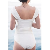 Lovely Sexy Bateau Neck Fold Design White Spandex