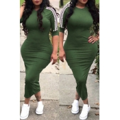 Lovely Sexy Round Neck Striped Army Green Polyester Sheath Mid Calf Dress