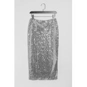 Lovely Trendy Sequins Decoration Zipper Design Sil