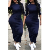 Lovely Sexy Round Neck Striped Dark Blue Polyester Sheath Mid Calf Dress