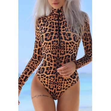 Sexy Turtleneck Zipper Design Leopard Polyester One-piece Bodysuits
