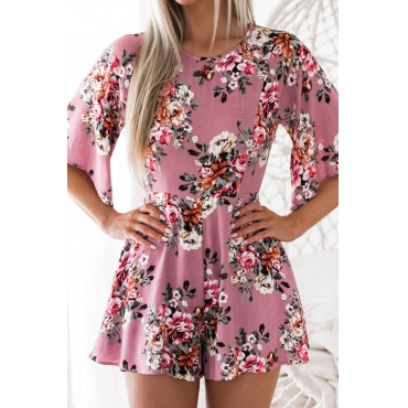 Lovely Fashion Round Neck Backless Floral Printed Pink Chiffon One-piece Short Jumpsuits