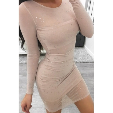Lovely Sexy Round Neck See-Through Sequins Decoration Khaki Polyester Sheath Mini Dress