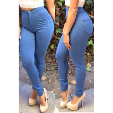 Euramerican High Waist Zipper Design Blue Denim Pants