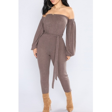 Fashion Bateau Neck Lantern Sleeves Grey Polyester One-piece Jumpsuits(With Belt)
