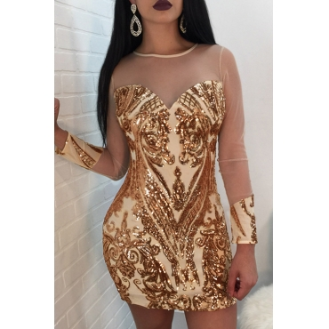 Lovely Sexy Round Neck See-Through Sequins Decoration Net Yarn Splicing Gold Polyester Mini Dress