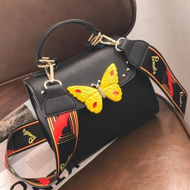 Lovely Fashion Butterfly Decorative Wide Straps Design Black PU Crossbody Bag
