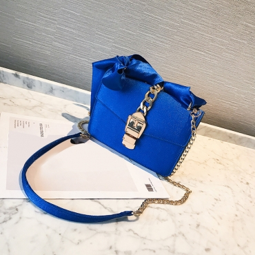 Lovely Fashionable Bow-Tie Design Blue Polyester Hasp Crossbody Bag