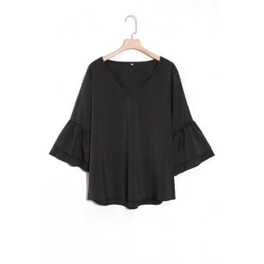 Lovely Fashion V Neck Trumpet Sleeves Black Chiffon Shirts