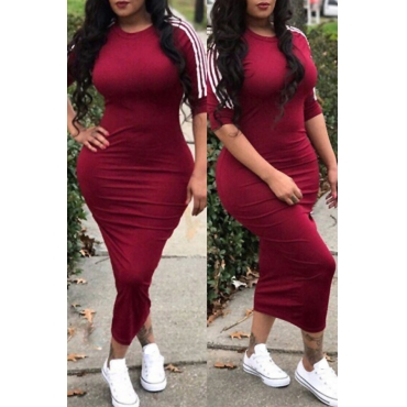 Lovely Sexy Round Neck Striped Wine Red Polyester Sheath Mid Calf Dress