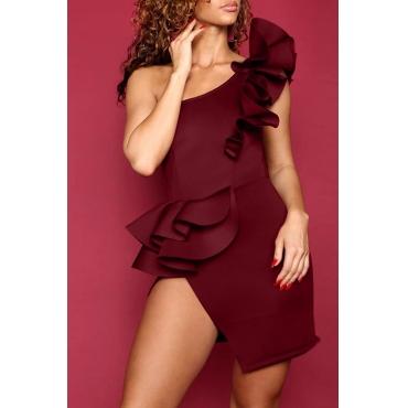 Adorável Show Sexy Um Ombro Falbala Design Vinho Vermelho Vestido De Poliéster Mini Vestido