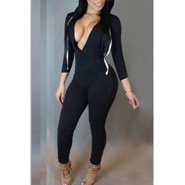 Lovely Trendy Hooded Collar Black Polyester One-piece Jumpsuits