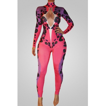 Lovely Trendy Turtleneck Hollow-out Printed Polyester One-piece Jumpsuits