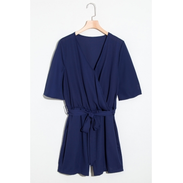 Lovely Fashion V Neck Short Sleeves Blue Chiffon One-piece Short Jumpsuits(With Belt)