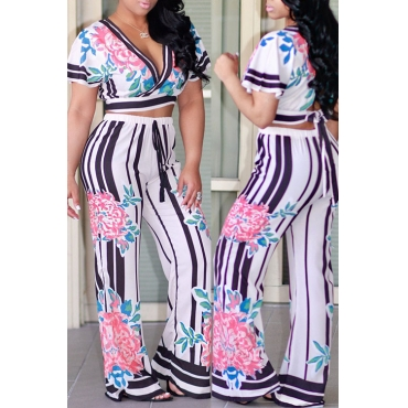 Lovely Casual V Neck Floral And Striped Printed Polyester Two-Piece Pants Set