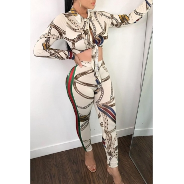 Lovely Casual Turndown Collar Printed White Polyester Two-Piece Pants Set
