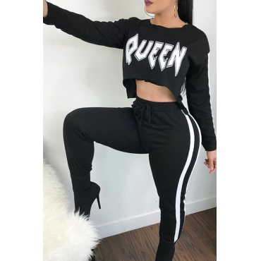 Lovely Casual Round Neck Letters Printed Striped Black Knitting Two-Piece Pants Set