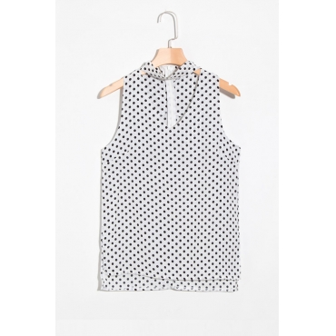 Lovely Fashion V Neck  Dot Printed White Chiffon Tank Top