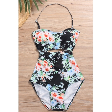 Lovely Fashion Lace-up Hollow-out Floral Printed Black Nylon One-piece Swimwears