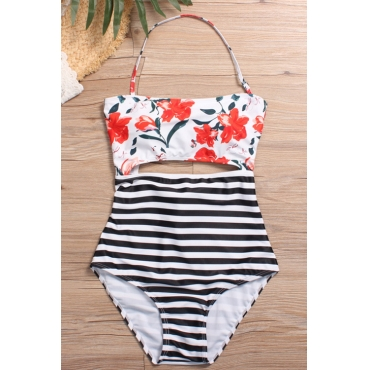 Lovely Fashion Lace-up Hollow-out Floral Printed Red Nylon One-piece Swimwears