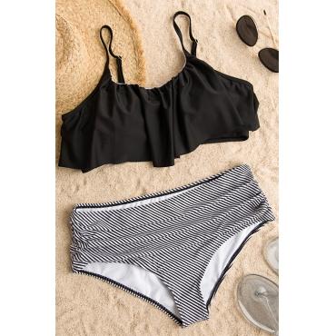 Lovely Sexy Falbala Design Striped Black Polyester Two-piece Swimwears