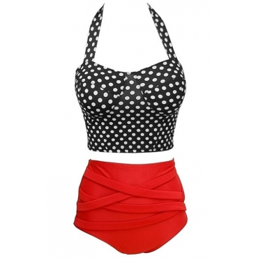 Lovely Fashion Dot Printed Red Polyester Two-piece Swimwears