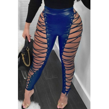 Lovely Fashion High Elastic Waist Lace-up Hollow-out Blue Leather Pants