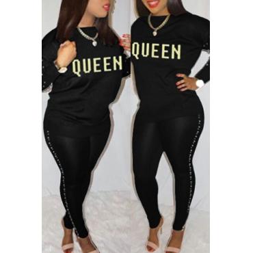 Encantador Ocasional Cuello Redondo Dorado Letras Pearl Recortar Pantalones De Dos Piezas De Algodón Negro