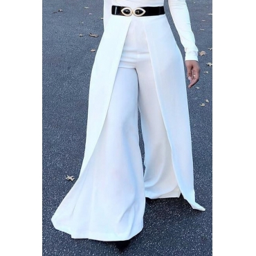 Lovely Trendy Elastic High Waist White Polyester Pants(Without Belt)