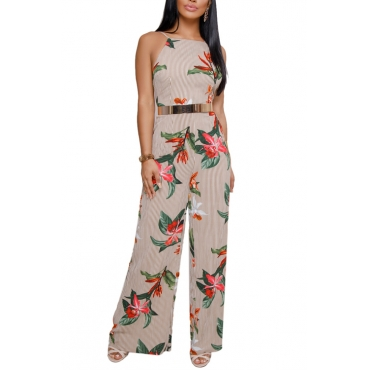 Lovely Sexy Spaghetti Strap Sleeveless Backless Floral Printed Apricot Polyester One-piece Jumpsuits(Without Belt)