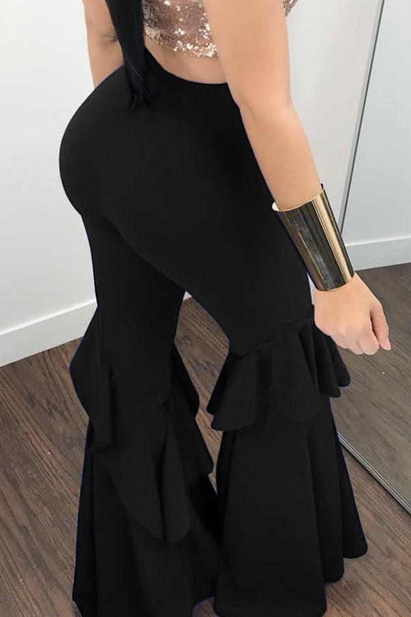 LovelyEuramerican High Waist Falbala Design Black Qmilch Pants