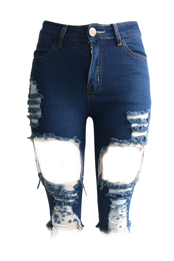 Lovely Fashion Mid Waist Broken Holes Blue Denim Zipped Shorts