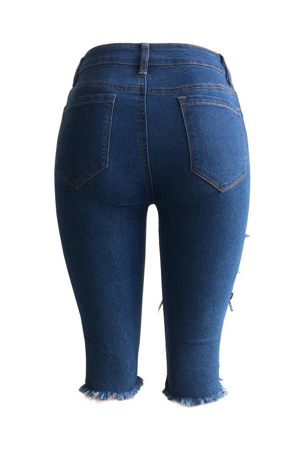 Moda Encantadora Mid Cintura Quebrado Buracos Azul Denim Shorts Com Zíper